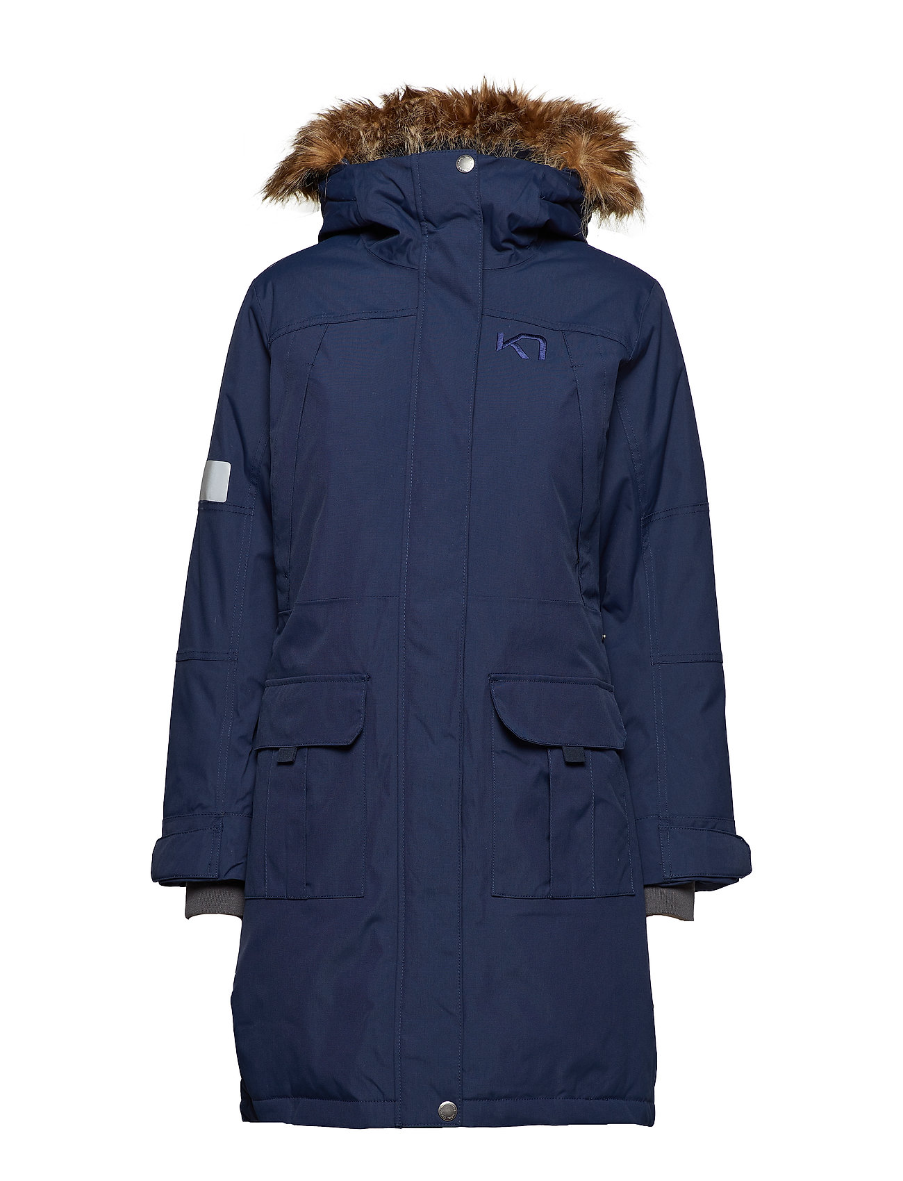 Klassisk dame frakke i navy blå farve Køb online hos