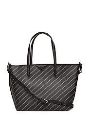 KARL LAGERFLED-Stripe Logo Shopper - BLACK