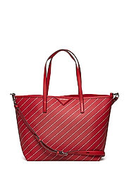 KARL LAGERFLED-Stripe Logo Shopper - RUBY