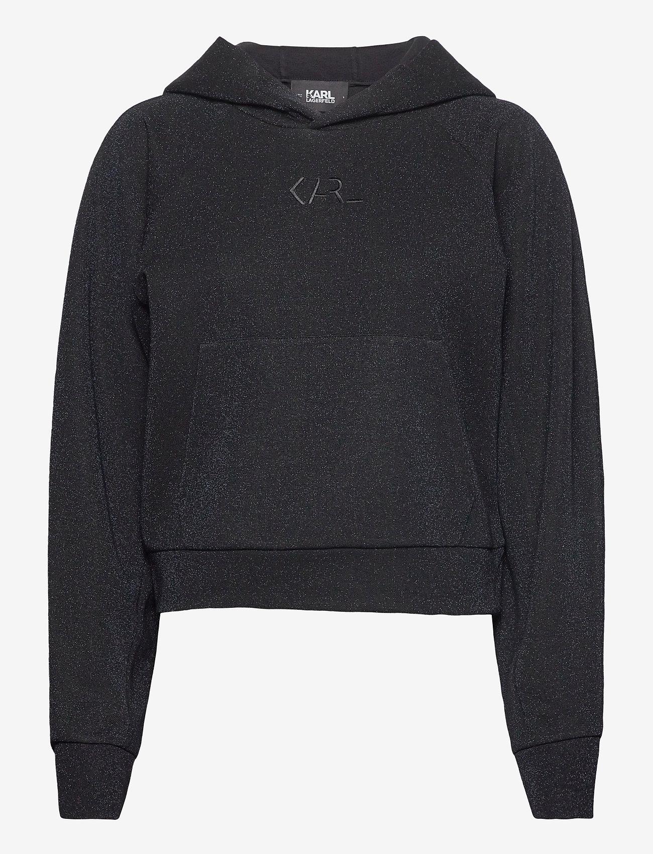 Karl Lagerfeld - Lurex Cropped Hoodie - sweatshirts & hættetrøjer - sprkl blue - 0