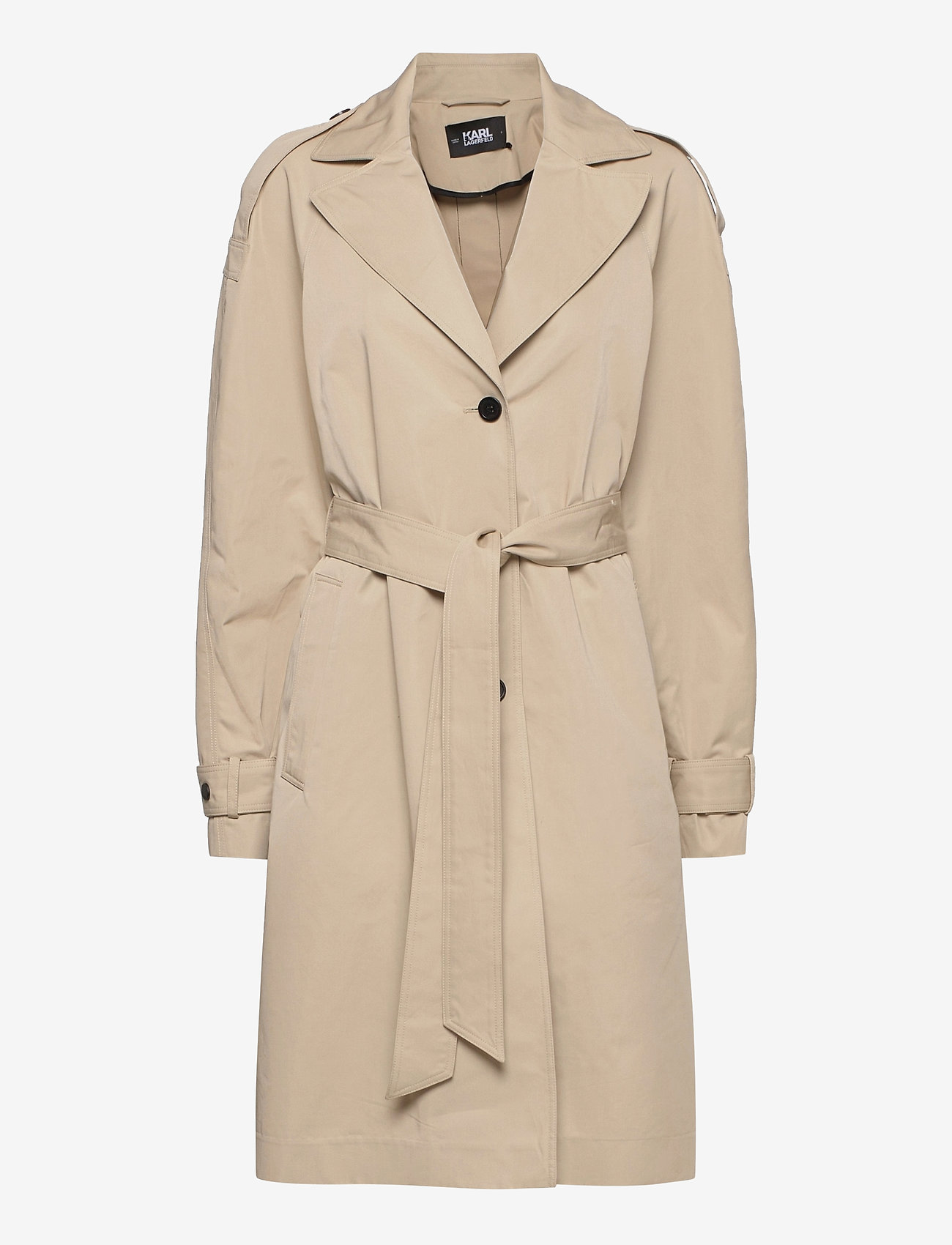 Karl Lagerfeld - Trench Coat W/ Logo Tape - trenchcoats - hummus - 0