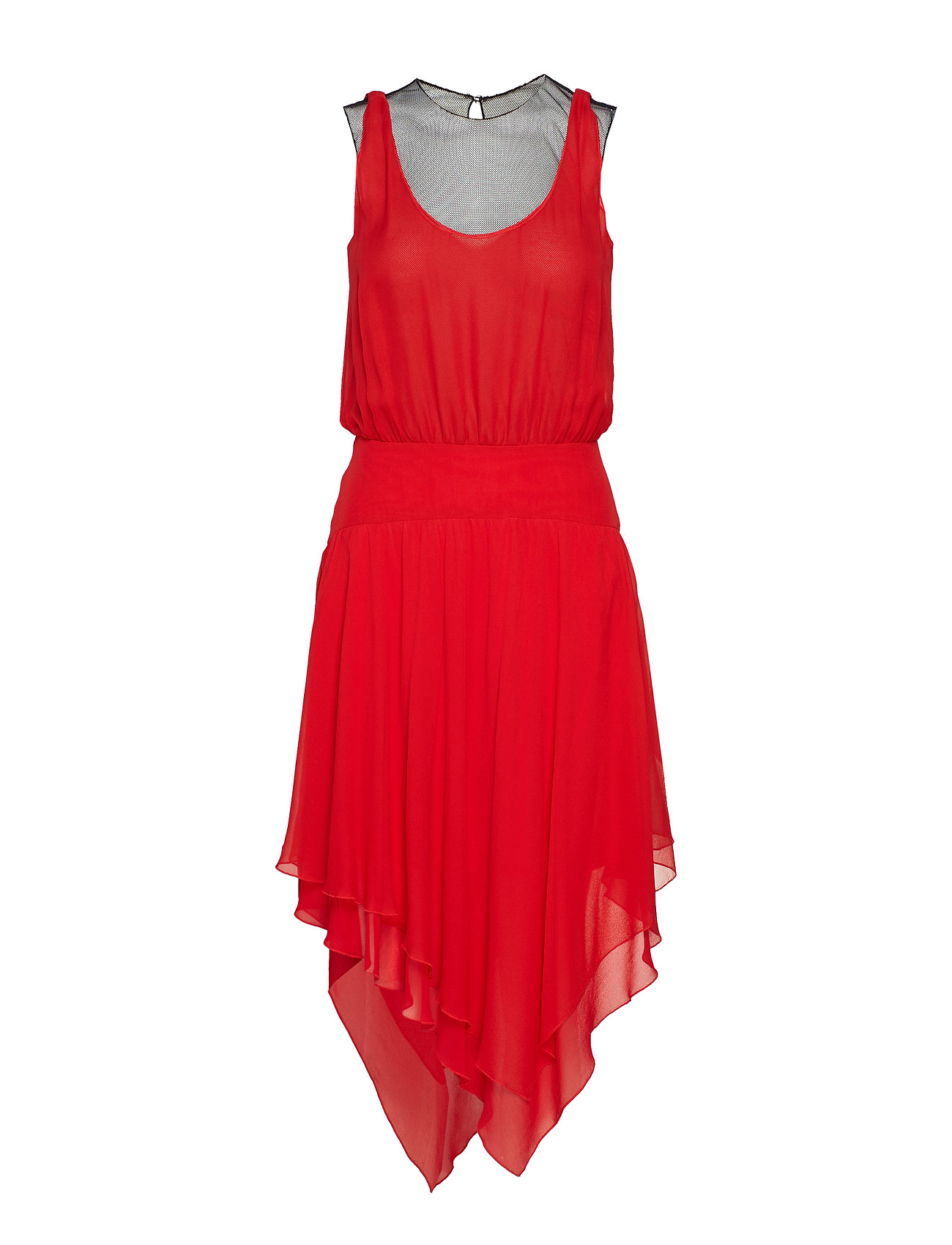 Karl Lagerfeld Silk Ggt & Mesh Evening Dress - RED