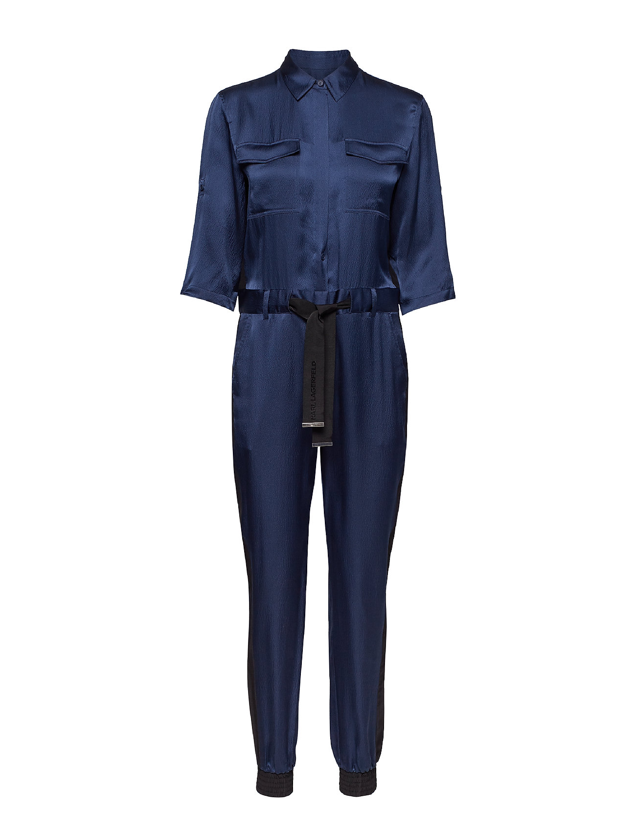 Karl Lagerfeld Silk Shirt Jumpsuit W/Belt