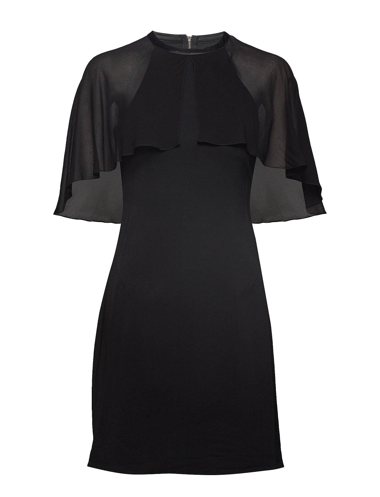Karl Lagerfeld Dress W/ Cape Overlay - BLACK