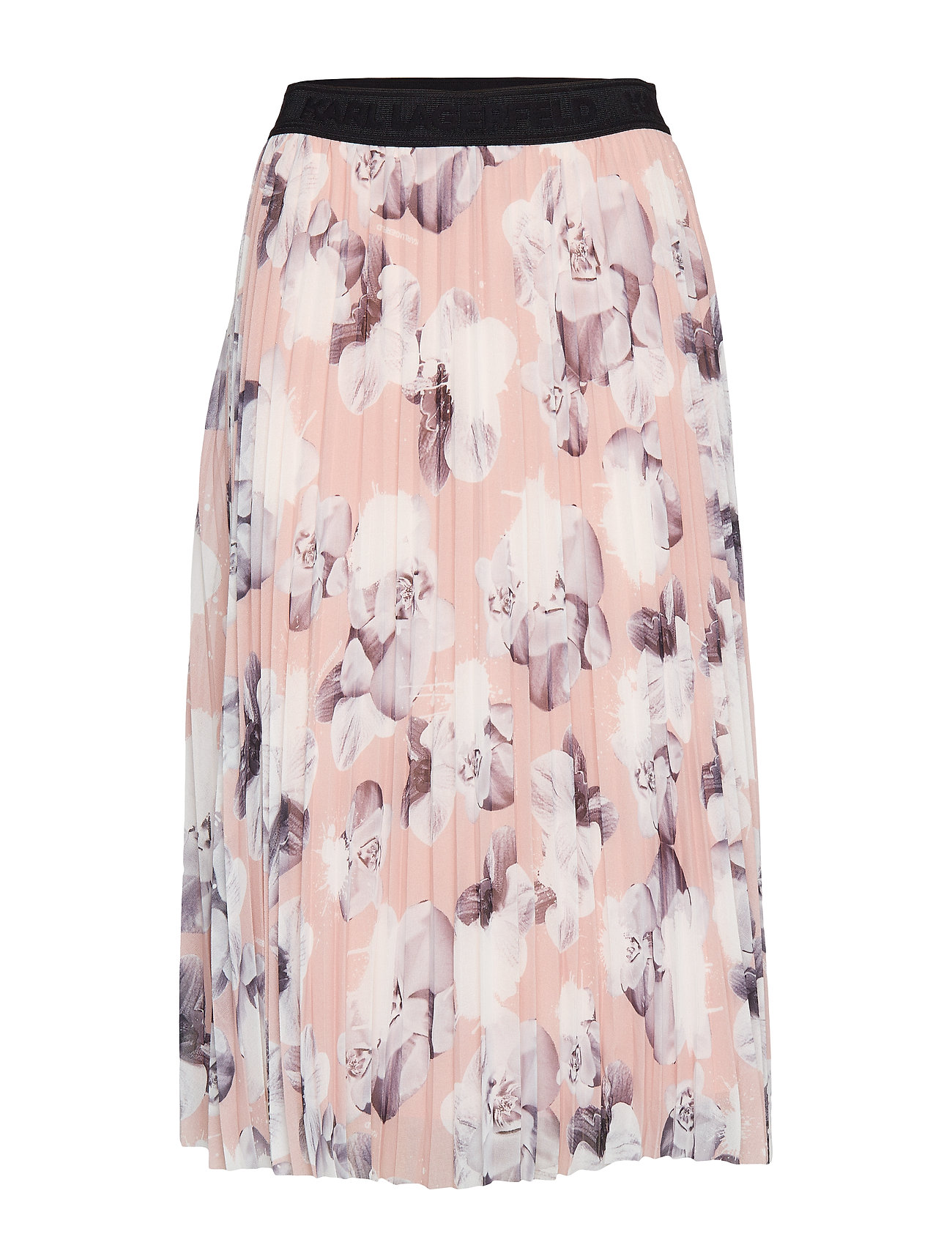 Orchid Print Pleated Skirt