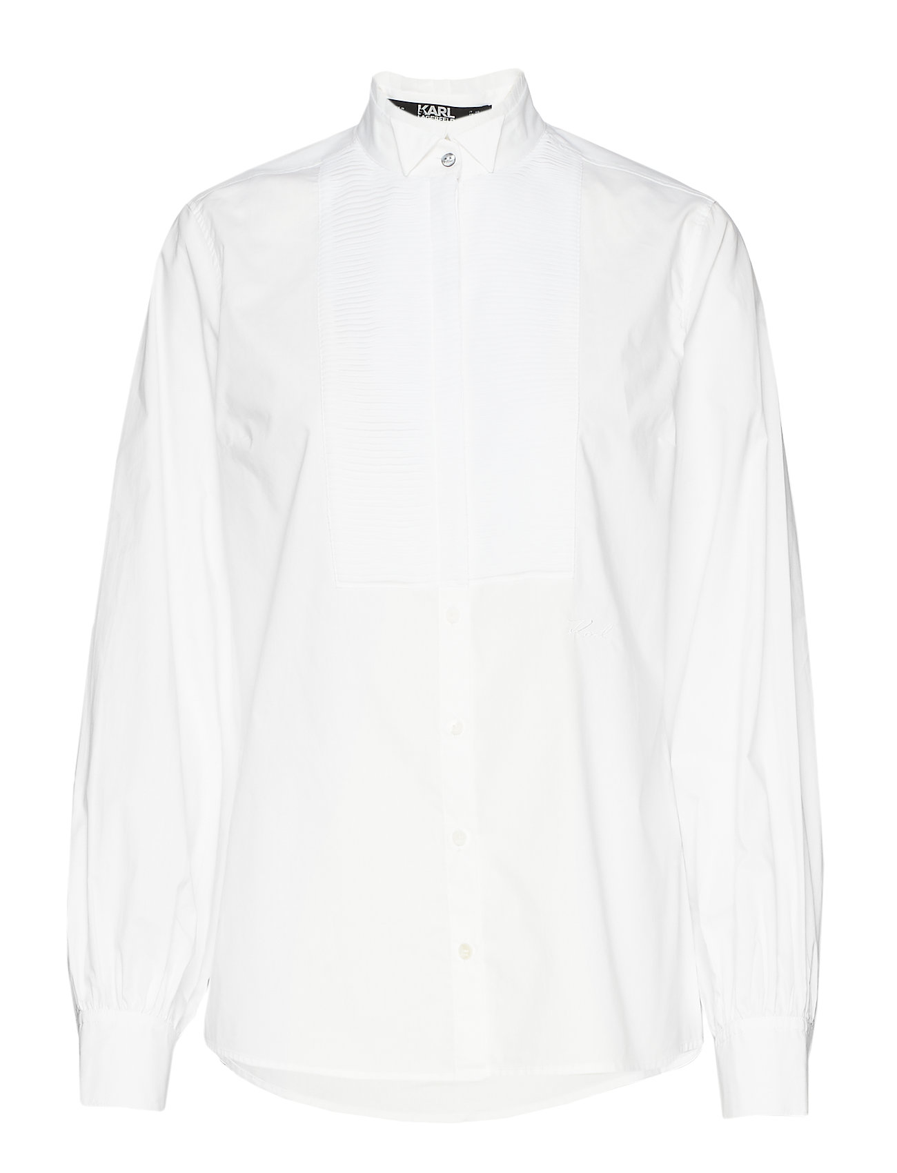 Karl Lagerfeld Pleated Plastron Poplin Shirt - 100 WHITE