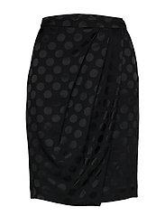 Karl X Carine Satin Dot Skirt - BLACK