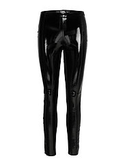 karl faux patent leggings - BLACK