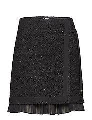 KARL LAGERFELD-Boucle Skirt W/Pleated Insert - BLACK