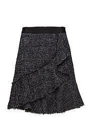 KARL LAGERFELD-Sparkle Boucle Skirt W/Ruffles - MD INDG BCL