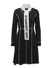 KARL LAGERFELD-Logo Bow Dress W/ Piping - BLACK