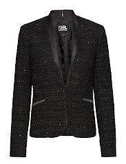 KARL LAGERFELD-Black Sequins Boucle Blazer - BLACK