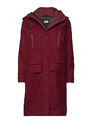 KARL LAGERFELD-Hooded Oversized Parka Coat - TAWNY PORT