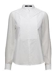 KARL LAGERFELD-Poplin & Ggt Pleated Bib Shirt - WHITE