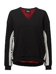 KARL LAGERFELD-V-Neck Logo Sweatshirt - BLACK