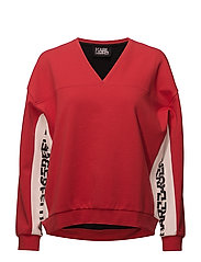 KARL LAGERFELD-V-Neck Logo Sweatshirt - RED