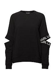 KARL LAGERFELD-Cut Out Sleeve Sweat W/Logo - BLACK