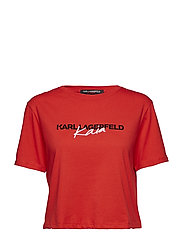 KARL LAGERFELD-Karl X Kaia Cropped T-Shirt - RED