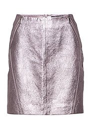 KARL LAGERFELD-Karl X Kaia Leather Skirt - PINK
