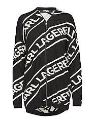 KARL LAGERFELD-Zip Logo Wool Cardgian - BLACK