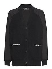 KARL LAGERFELD-Cashmere Cardigan W/Logo Tape - BLACK