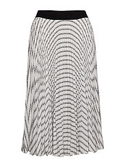 Pleated Logo Midi Skirt - STRIPES