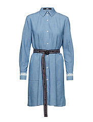 Shirt Dress W/Logo Belt - BLUE