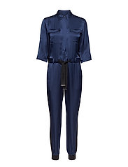 Silk Shirt Jumpsuit W/Belt - BLUE