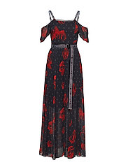 Flower Print Maxi Dress - BLACK