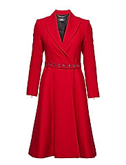 Tailored Feminine Coat W/ Belt - RED
