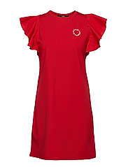 Ruffle Sleeve T-Shirt Dress - RED