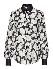 Orchid Print Silk Shirt - BLK ORCHID PRNT