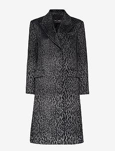 Karl X Carine Leopard Coat - ullkappor - black/gray