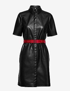 Faux Leather Shirt Dress - BLACK