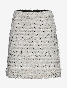 boucle skirt w/ fringes - lyhyet - white/black