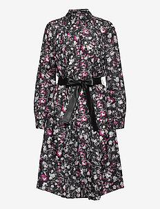 silk orchid print dress - skjortklänningar - black