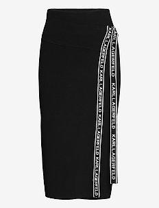 logo tape wrap knit skirt - black