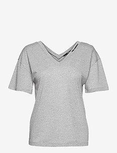 double v neck t-shirt - t-shirts - grey melange