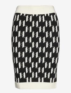 Kl Monogram Knit Skirt - vidutinio ilgio sijonai - black