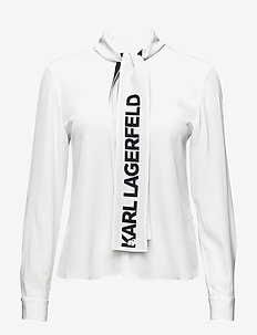 KARL LAGERFELD-Logo Bow Silk Blouse - WHITE