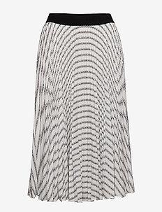 Pleated Logo Midi Skirt - STRIPES