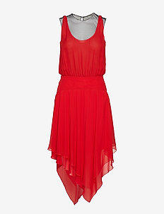 Silk Ggt & Mesh Evening Dress - RED