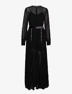 Maxi Shirt Dress W/Logo Tape - BLACK