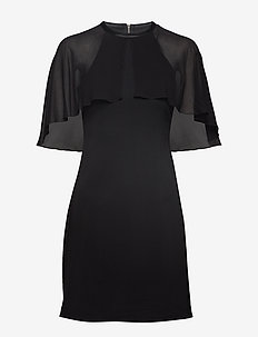 Dress W/ Cape Overlay - BLACK