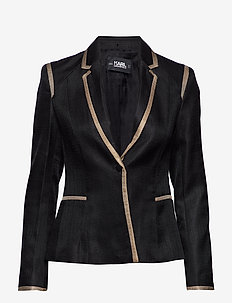 Tailored Twill Blazer W/Piping - BLACK