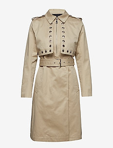 Trench Coat W/ Eyelet Detail - GREY
