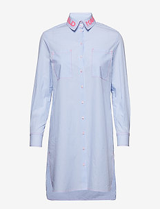 Neon Lights Pinstripe Tunic - WHITE/BLUE STRIPE