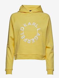 Cropped Hoodie W/ Circle Logo - GOLD