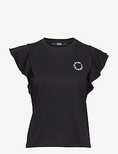 Ruffle Sleeve T-Shirt - BLACK