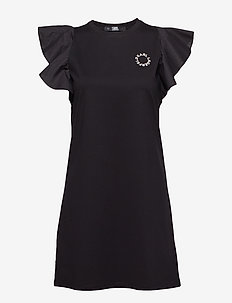 Ruffle Sleeve T-Shirt Dress - BLACK